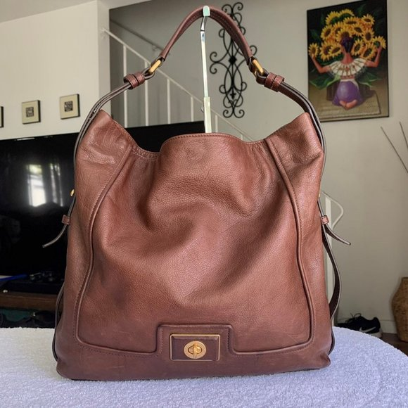 Marc Jacobs Large Turnlock Leather Tote Bag